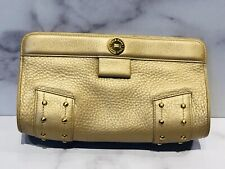 Cole Haan Gold Leather Studded Clutch Bag