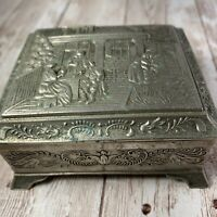 Vintage Metal Trinket Box Made In Japan 3 1/2 x 2 3/4 Inches Some Wear