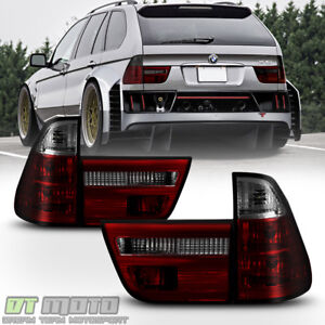 2000-2006 BMW E53 X5 Red Smoked Tail Lights Brake Lamps Left+Right Replacement