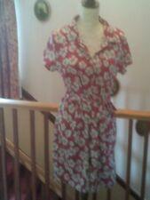 Abito femminile, Abito corto, Rosso e Bianco Stampa Floreale, condizione mai indossato