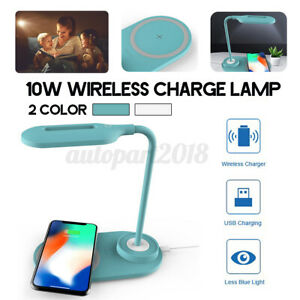 🔥 10W LED Desk Table Lamp Study Light Touch Reading Qi Wireless Phone Charger