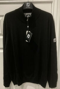 *NEW WITH TAGS* Footjoy Pure Merino Wool 1/2 Zip Pullover In Black Size XL