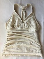 Women's Athena Ivory Crochet Tankini Swimsuit Top-Sz 10