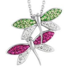 """18"""" Chain in Jewelry Box New Rhodium Plated Crystal Dragonfly Pendant Necklace"""