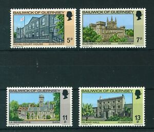 Guernsey 1976 Christmas - Buildings full set of stamps MNH. Sg 145-148