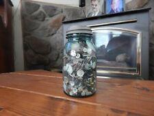 New listing Vintage Quart Blue Glass Ball Mason Jar With Vintage Buttons, Atlas Zinc Lid