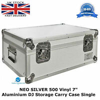 "7"" Vinyl Record Aluminium DJ Flight Carry Case Silver Holds 500 Tough Strong Box"