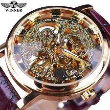 Winner Royal Carving Skeleton Brown Leather Transparent Skeleton Design Watches