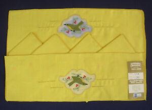 "Imperial Belgian Linen 17""x11"" Placemats 12"" Napkins 8 pc set Yellow w Bird rust"