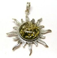Handmade 925 Sterling Silver Sun Sunshine Pendant with Real Baltic Green Amber