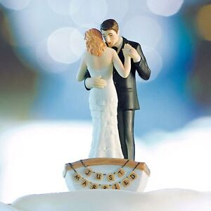 Romantic Row Away Rowing Boat Couple Wedding Cake Top Topper