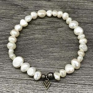 Silpada Sterling Silver Logo White Pearl Bracelet