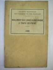 1939 ancien manuel sncf règlement des lignes a voie unique a trafic restreint