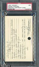 1933 Goudey #87 Frank O'Rourke Original Copyright Patent Proof Registration PSA