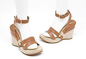SERGIO ROSSI British Tan Leather Platform Ankle Strap Sandals Gold Hdwr. Sz 38
