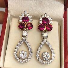 925 Silver Cz Drop Dangle Two Tone Princess Earrings 7.9 Grams - Women