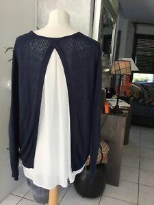 Pull/chemise KARL MARC JOHN taille M bleu marine/ecru bon etat