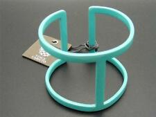 $48 Vince Camuto Teal Turquoise Blue Enamel Cuff Bracelet Cut Out Design Signed