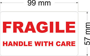 100 x FRAGILE HANDLE WITH CARE - Labels / Stickers 99 x 57 mm