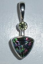 925 STERLING SILVER MYSTIC TOPAZ TRIAD CUT with PERIDOT PENDANT