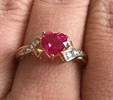 10k Gold Ruby Heart Sapphire Wedding Engagement Promise Ring Valentine's Gift