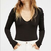 Free People We The Free Black Long Sleeve Knit Fitted Sweater Top Size XS