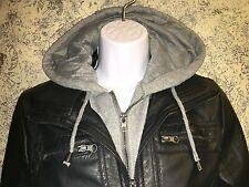 Biker layer look gray hoodie faux black leather S jacket coat MARALYN ME spring