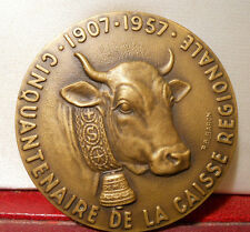 1957 Splendid 59mm Cow Cattle French by Baron art Medal Savoie