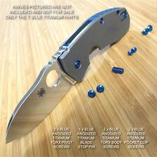 Spyderco Techno 7PC Titanium Screw Set plus Blade Stop Pin Anodized in BLUE