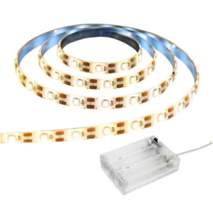 1m-5m Batterie LED Streifen Stripe 3528 SMD Warmweiß Kaltweiß Leiste Band Licht