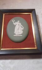 Vintage Green Jasperware, Framed Oval Plaque, Wedgwood?