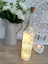 Beautiful Shabby Chic A Little Thing Called Love LED Decorative Glass Bottle