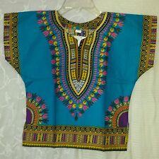 African Kids Boys Girls Dashiki Top Hippie Blouse Turquoise Yellow Free Size