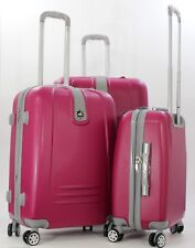 "NWT PINK ABS HARDCASE SPINNER SUITCASE LUGGAGE UPRIGHT 20""24""28"" 3PCS/SET"