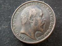 1902 Vintage Farthing King Edward VII United Kingdom Great Britain C020