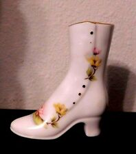 Vintage Miniature Collectible Shoe / Heeled Boot Yellow Floral