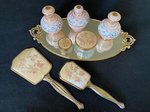 Vintage Vanity Set Brush Mirror Perfume Bottles Etc!