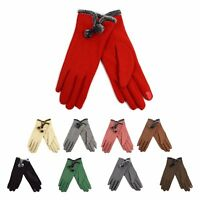 Ladies' Smartphone Accessible Winter Gloves with Faux Fur Pom-Pom Accent (LWG07)