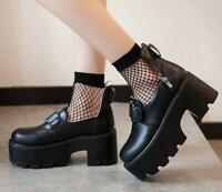 Women's Punk Chunky High Heel Gothic Platform Pu Leather Creepers Pumps Shoes