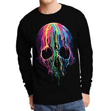 Velocitee Mens Long Sleeve T-Shirt Melting Skull Colourful Scary Horror A19423