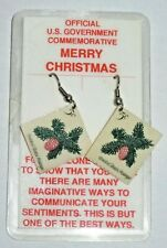 Postage Stamp Earrings Official U.S. Govmnt Commemorative New Merry Christmas 5