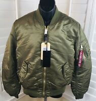 New Alpha Industries Men's Olive MA-1 Slim Fit Reversible Bomber Jacket, Small