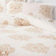 Threshold Cream/Gold Floral Medallion Linen Blend King Duvet Cover Set 3 pc