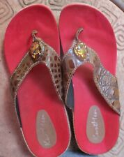 KurtMen New Leather Sandals Shoes Golden Topaz Crystal Sz 8 Thongs