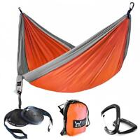 Single & Double Camping Hammock With Tree Straps Portable Parachute Nylon travel