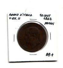 Regno d'Italia 10 centesimi  1862 Parigi  V.Emanuele II    BB+    (m1077)