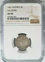 1681 Austria 3K NGC AU58 Salzburg Silver Kreuzer Archbishop Maximilian Gandolph