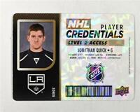2017-18 Upper Deck MVP NHL Player Credentials Level 2 #NHLDD Jonathan Quick