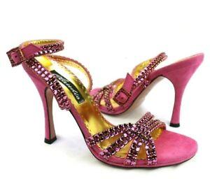 Claudio Milano Frances Cosacco Suede Shoes Pink Crystal Size 37 Italy