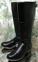 CLARKS BLACK  KNEE HIGH FASHION ZIPPER BOOTS DRESS SHOES HEELS WOMENS SZ 9.5 M